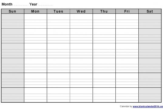12 Best Photos Of Printable Blank Monthly Calendar Template
