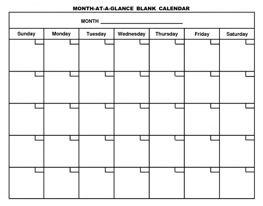 12 Month Blank Calendar Template
