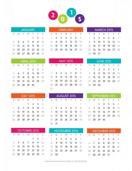 13 Best Photos Of 12 Month Calendar Template 2015   2015 Calendar