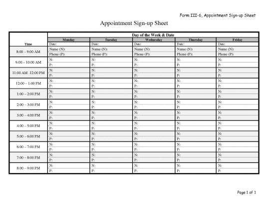 17 Best Photos Of Appointment Sheets Templates Excel   Free