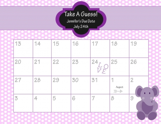 17 Best Photos Of Guess The Due Date Template   Guess Ba Due