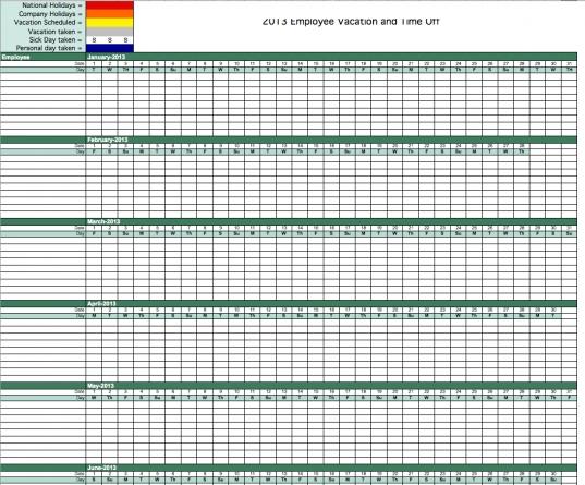 2013 Employee Vacation Tracking Calendar Template