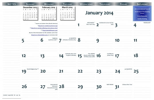 2014 11″x17″ Free Printable Wall Calendar — Pdf Format | Jazzsoup42