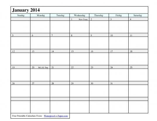 2014 Printable Calendar With Holidays   Pdf | Chainimage