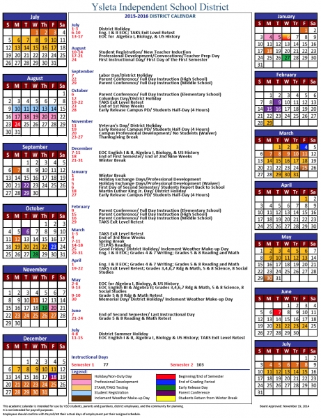 2015 2016 Yisd District Calendar > Tierra Del Sol Elementary School