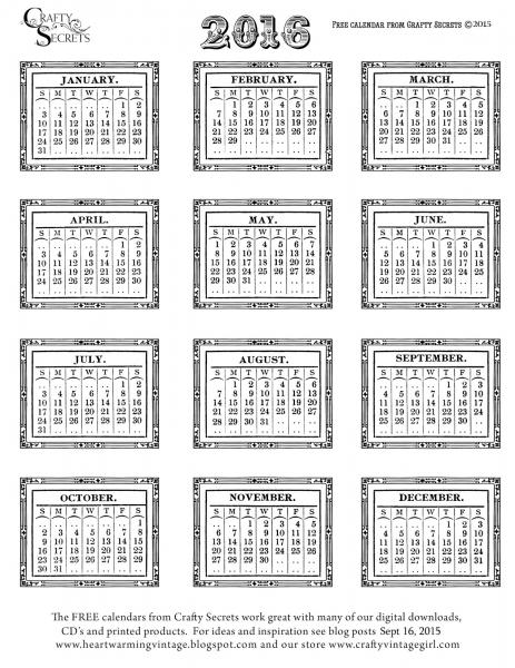 2016 12 Month Printable Calendar