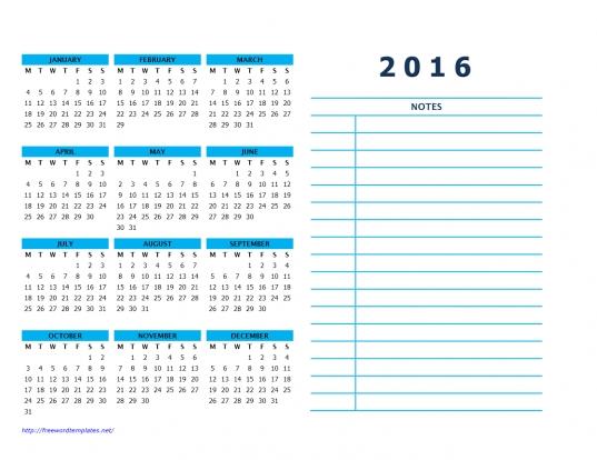 2016 Calendar Templates | Word Templates | Free Word Templates