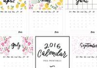 2016 Free Printable Calendar No Download   Blank Calendar Design 2016