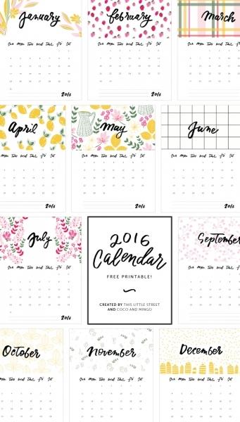 2016 Free Printable Calendar No Download | Blank Calendar Design 2016