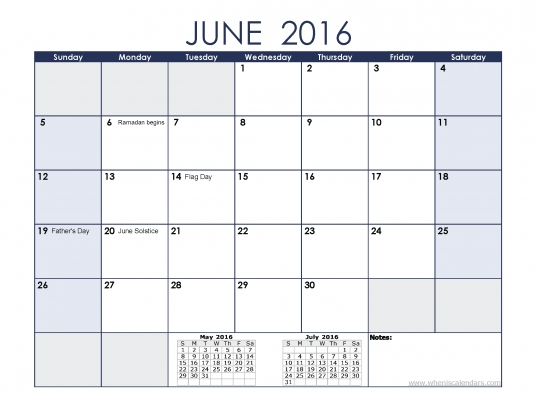 2016 June Calendar For Kids Download