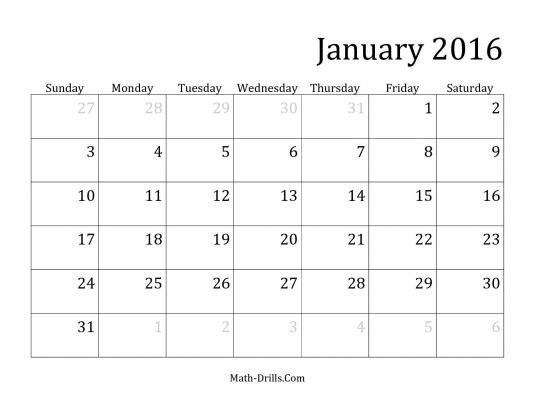 2016 Monthly Calendar Time Worksheet