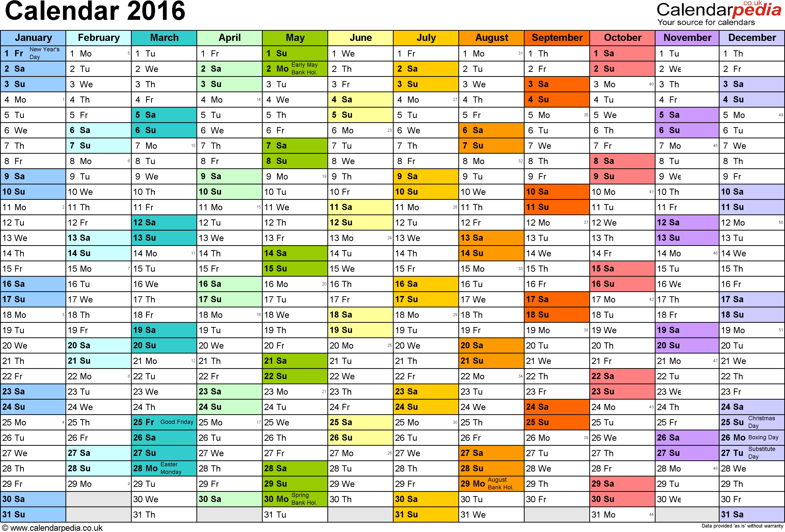 2016 Monthly Calendar With Week Numbers | Blank Calendar Design 2016