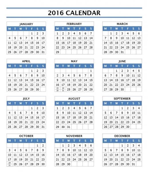 2016 Year Calendar Template | Free Microsoft Word Templates