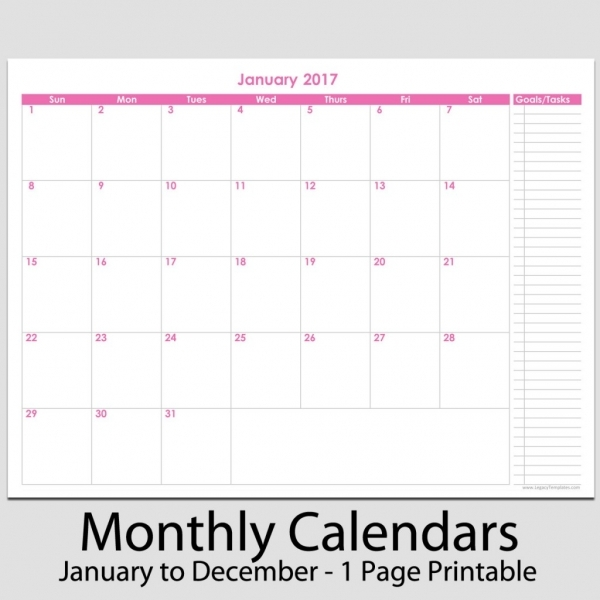 "2017   12 Month Calendar With Tasks   8 1/2"" X 11"" 