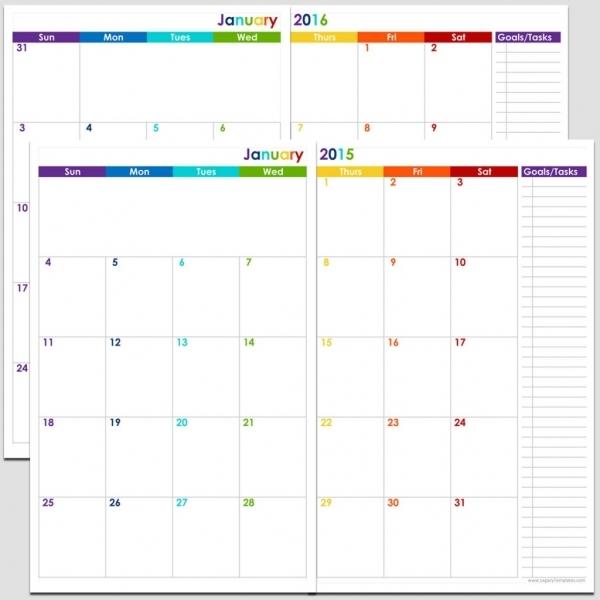 24 Months 2 Page Calendar   Half Size   Legacy Templates