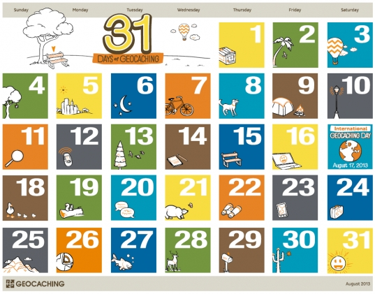 31 Days Of Geocaching Printable Calendar – The Geocaching Blog