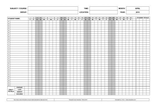 5 Best Images Of Free Printable Attendance Charts   Free Printable