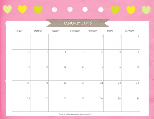 8 Best Images Of Cute Free Printable 2015 Yearly Calendar