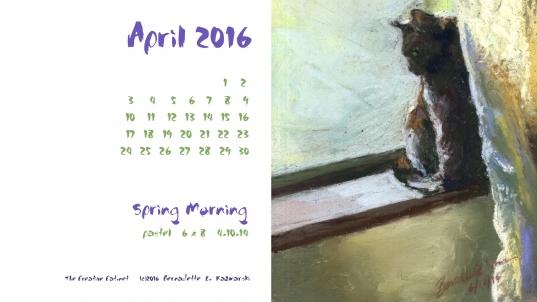 "April Featured Artwork And Desktop Calendar: ""spring Morning"