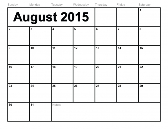 August 2015 Calendar Printable Template (10 Templates)