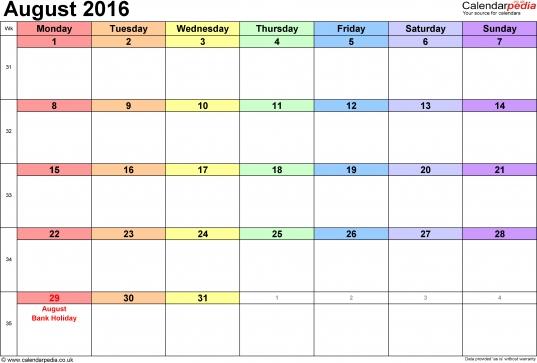 August Calendar 2016 Printable With Holidays