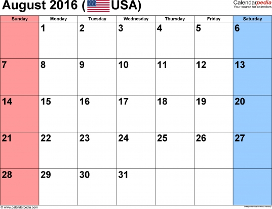 August Calendar 2016 Printable With Holidays