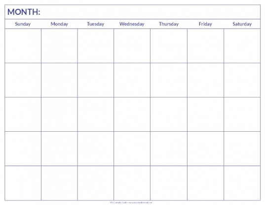 Blank Calendar Print