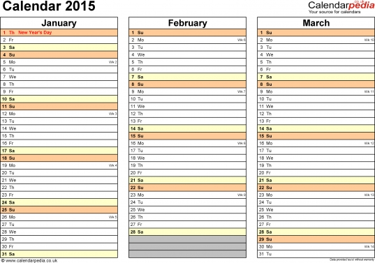 Calendar 2015 (uk)   16 Free Printable Pdf Templates