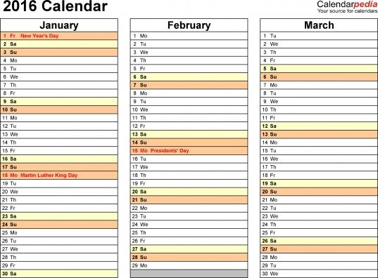 Calendar 4 Months Per Page 2016