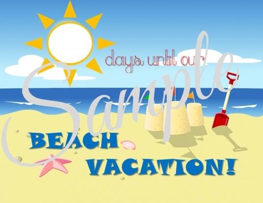 Countdown To Beach Vacation Printable  Fantasylandboutique