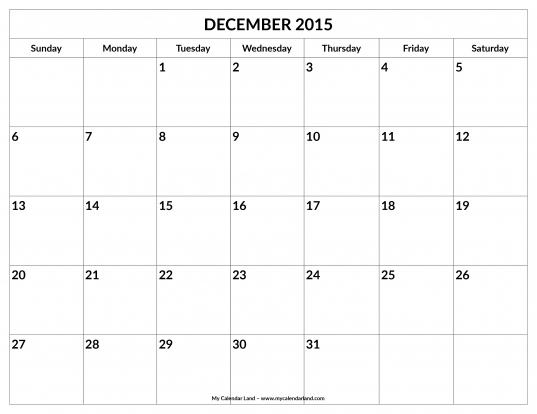 December 2015 Calendar   My Calendar Land