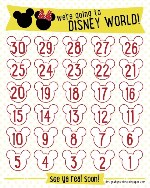 Designs  Nicolina: Disney Countdown! /// Free Printable ///