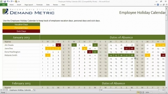 Employee Holiday Calendar Template 2013   Youtube