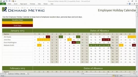 Employee Holiday Calendar Template 2013   Youtube