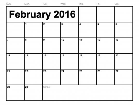 February 2016 Calendar Printable Template (8 Templates)