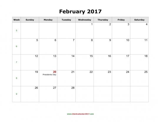February 2017 Calendar With Holidays | Free Calendar 2017