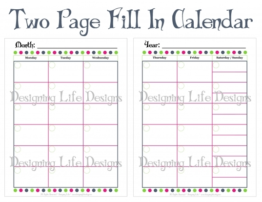 Fill In Monthly Calendar Printable   Two Page Design · Designing