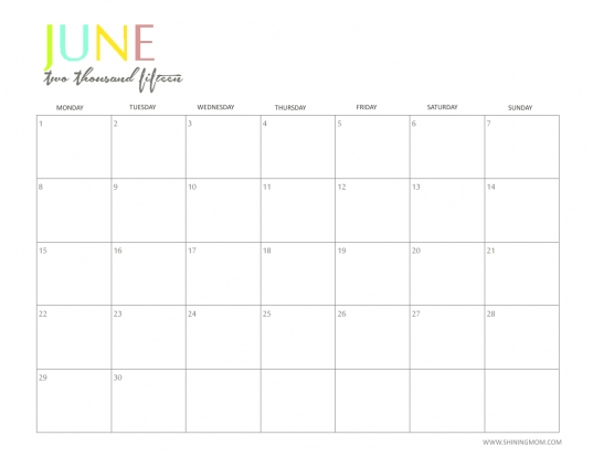 Free 2015 Printable Calendar  Shiningmom: Fun And Colorful!