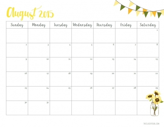 Free (cute) August 2015 Printable Calendar   Roxy James