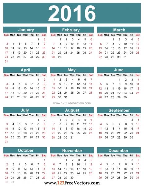 Free Editable 2016 Calendar | 123freevectors