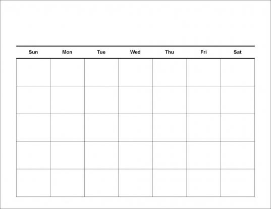 Free Monthly Calendar Templates | Print Blank Calendars