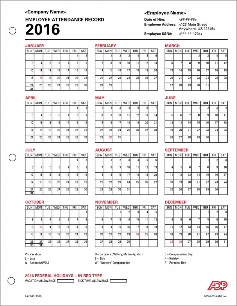 Free Printable Employee Attendance Calendar 2016 | New Calendar 2016