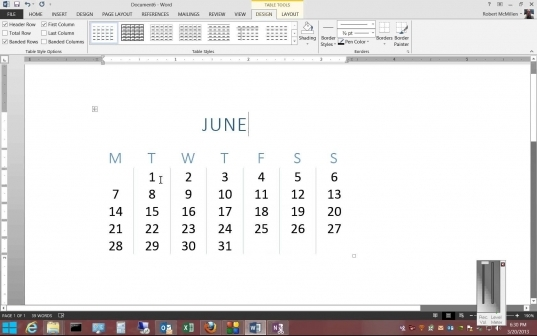 How To Insert A Calendar In Microsoft Word 2013   Youtube