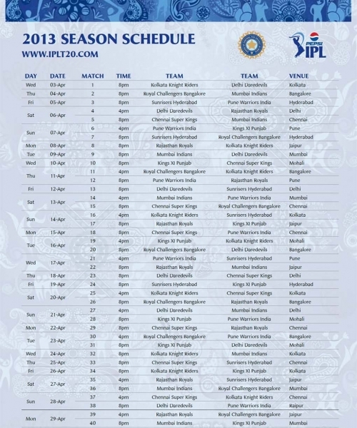 Ipl Time Table Images 2016 Mp3 Download | Imprint Tech
