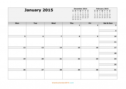 January 2015 Calendar  Free Printable Calendar Templates