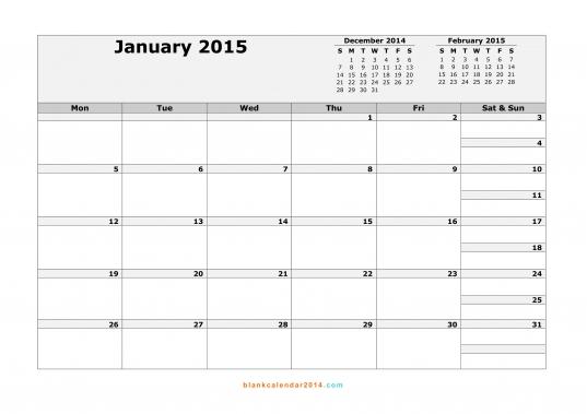 January 2015 Calendar  Free Printable Calendar Templates