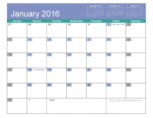 January 2016 Calendar Free Printable 6 Templates Pdf Excel   When