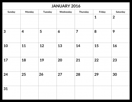 January 2016 Calendar   My Calendar Land