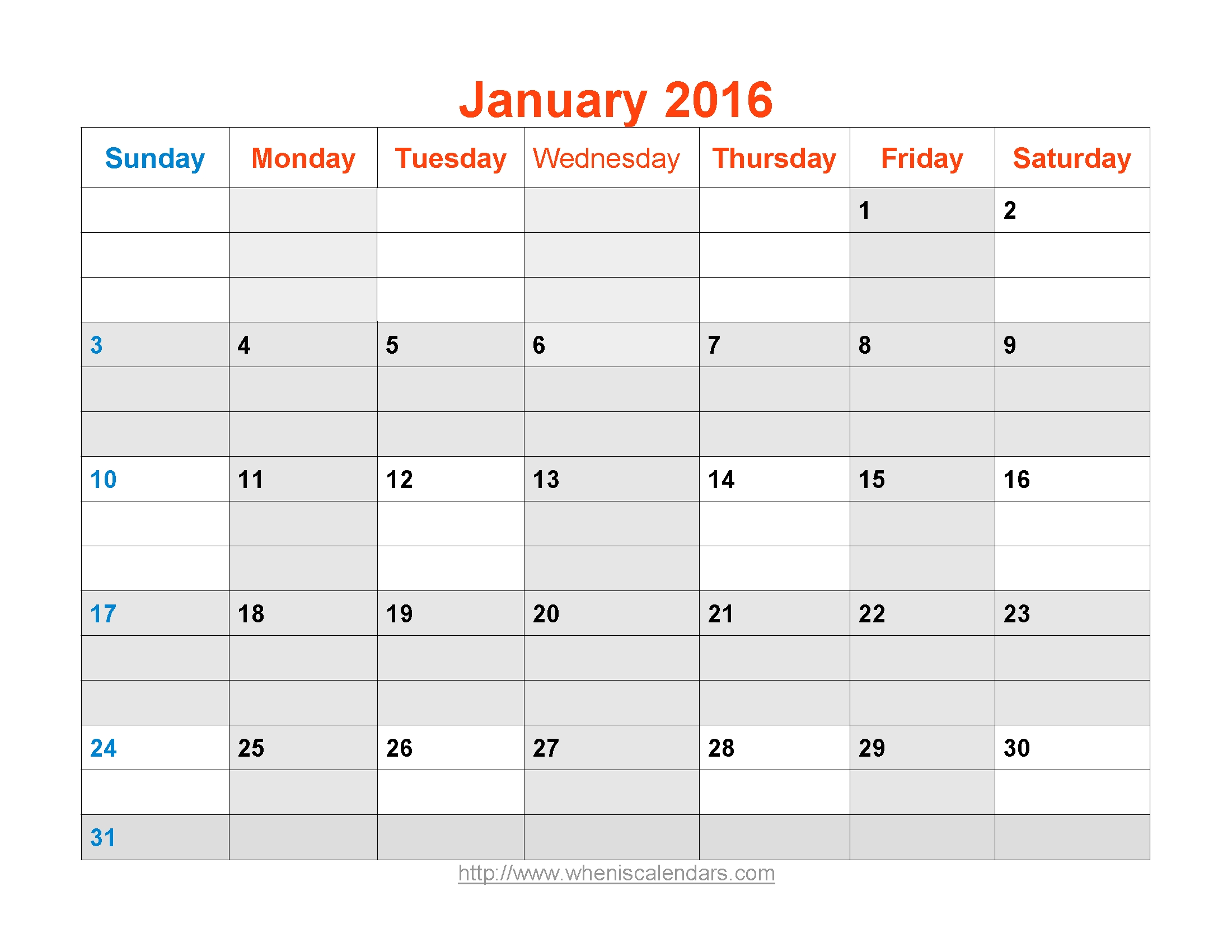 January 2016 Calendar Printable Template Word Pdf Image