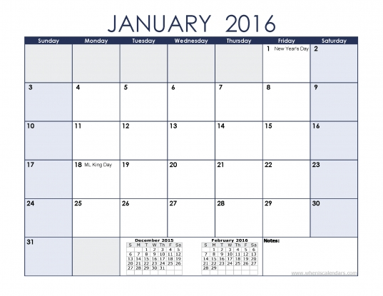 January 2016 Calendar With Holidays   Printable Monthly Calendar